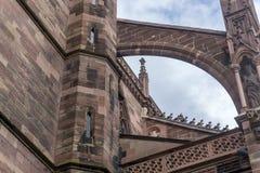 Detalj från Muenster i Freiburg, Tyskland Arkivbilder