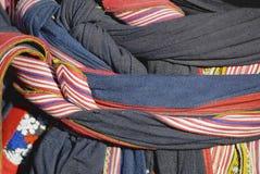 Detalj för textil för dräkt för svarta Miao minoritetkvinnor traditionell Stad av Sapa som är nordvästlig av Vietnam För раÐ'ï  Arkivbilder