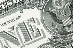 Detalj från en oss dollarsedel Arkivbild