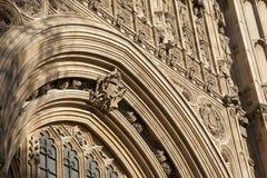 Detalj på fasad av hus av parlamentet, Westminster; London, Royaltyfri Bild