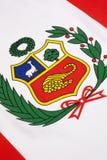 Detalj på flaggan av Peru Arkivbild