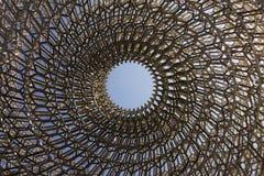 Detalj på mitten av den invecklade strukturen av den brittiska paviljongen på den Milan EXPON 2015 royaltyfria foton