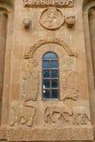 Detalj snida för sten av den armeniska domkyrkakyrkan av helgedomkorset på den Akdamar ön kalkon royaltyfri fotografi