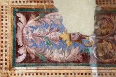 Detaljen av den forntida dekorativa blom- freskomålningen, Italien Arkivfoto