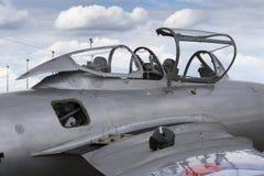 Detaljen av den Mikoyan-Gurevich MiG-15 för strålkämpeflygplan cockpiten framkallade för Sovjetunionenet Royaltyfri Fotografi