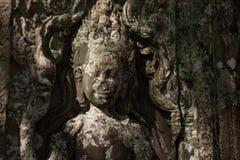 Detaljen av en devata (gud) sned i en tempel av Angkor Wat, Cambodja Arkivbild