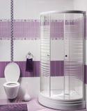 Detaljen av en modern badruminre med den lyxiga duschen och sliter Arkivfoto