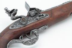 Detaljen av ett gammalt piratkopierar pistolen royaltyfri fotografi