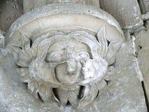 Detaljen av ett gigantiskt huvud i fängelsehåla av Septmonts byggde i det 13th århundradet Royaltyfri Foto