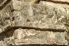 Detaljen av fördärvar på den Mayan fästningen och templet, Tulum Fotografering för Bildbyråer