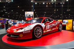 Detaljen av Ferrari 458 garnering och ändrar vid den Singha Team On Thailand International Motor expon Royaltyfri Foto