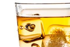Detaljen av kväv whisky i exponeringsglas med iskuber på vit Royaltyfri Fotografi