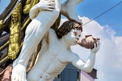 Detaljen av Neptunspansk gallion piratkopierar skeppet i Genova, Italien Royaltyfria Bilder