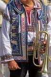 Detaljen av traditionella rumänska folk kostymerar slitet av män från förbud Royaltyfria Bilder