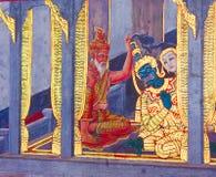 Detaljen av väggmålningen målade på klosterväggen, watphrakaew, bangkok, Thailand Arkivfoto