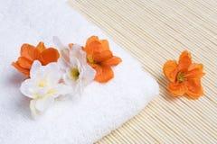detaljen blommar brunnsorthandduken Royaltyfri Fotografi