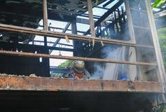 Detaljen för hem- brand avbildar brandkatastrof royaltyfria foton