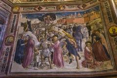 Detaljer av battisterodina San Giovanni, Siena, Italien Arkivfoto