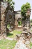 Detaljer av den övergav halva-fördärvade medeltida templet Indien fotografering för bildbyråer