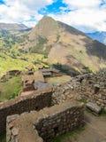 Detaljer av den arkeologiska platsen av Pisaq, i den sakrala dalen av incasna Royaltyfria Foton