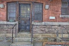 Detaljer av den gamla Galt drevstationen i Ontario, Kanada Arkivfoto