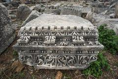 Detaljer av den härliga dekoren av den verkliga mycket gamla monumentet av historia royaltyfri bild