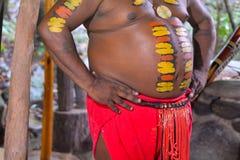 Detaljer av den infödda australiska mannen med kroppmålning Fotografering för Bildbyråer