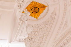 Detaljer av den inre sikten av den Georgievsky korridoren i den storslagna Kremlslotten i Moskva Arkivbilder