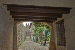Detaljer av den Padenghe slotten Arkivfoto