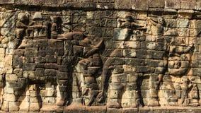 Detaljer av elefantterrassen i Angkor Thom Royaltyfria Bilder