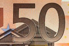 Detaljer av en 50 euro sedel!! Fotografering för Bildbyråer