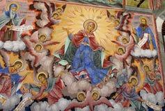 Detaljer av en freskomålning- och ortodoxsymbolsmålning i den Rila kloster kyrktar i Bulgarien Arkivbilder