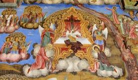 Detaljer av en freskomålning- och ortodoxsymbolsmålning i den Rila kloster kyrktar i Bulgarien Royaltyfri Foto