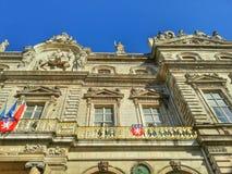 Detaljer av fasaden av det Lyon hotellet de ville, Lyon gammal stad, Frankrike Arkivfoton