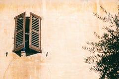 Detaljer av fransk arkitektur, träfönster med slutare, retur Fotografering för Bildbyråer