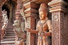 Detaljer av fristaden av sanningstemplet, Thailand Arkivbild