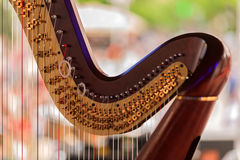 Detaljer av harpan Royaltyfri Fotografi