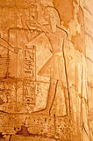 Detaljer av kolonner av den stora Hypostyle Hallen på templen av Karnak, Luxor, Egypten Arkivbilder