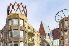 Detaljer av modern arkitektur i stadsmitt av Haag, Nederländerna arkivfoton