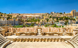 Detaljer av Roman Theater i Amman royaltyfri bild