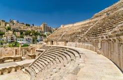 Detaljer av Roman Theater i Amman Arkivfoto