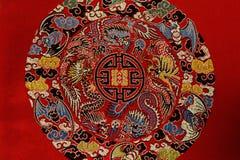 Detaljer av Shu brokad, Kina Arkivbild