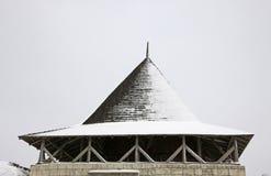 Detaljer av tornet av den medeltida fästningen i Hotin Fotografering för Bildbyråer