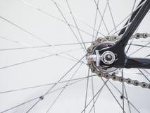 Detaljer för eker och för kedja för cykelhjul Royaltyfria Bilder