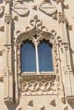 Detaljer för fasad för Jabalquinto slottfönster, Baeza, Spanien Arkivbild