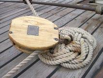 Detaljer för seglingskepp Arkivbilder