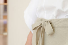 Detaljer för slut för stil för flåsanden för kvinna för beige attraktionradmidja tillfälliga upp Minsta moderiktigt mode royaltyfri fotografi
