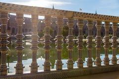 Detaljer från plazaen de Espana i Seville, Spanien arkivfoto