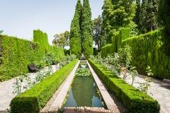 Detaljer i trädgårdarna av Generalifen i Alhambra Granada S Royaltyfria Foton