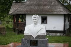 Detaljer med huset som Nicolae Ceausescu, rum?nsk kommunistisk diktator, var b?rdig 1918 i arkivbild